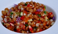 Spelt berry salad in white bowl-lowres