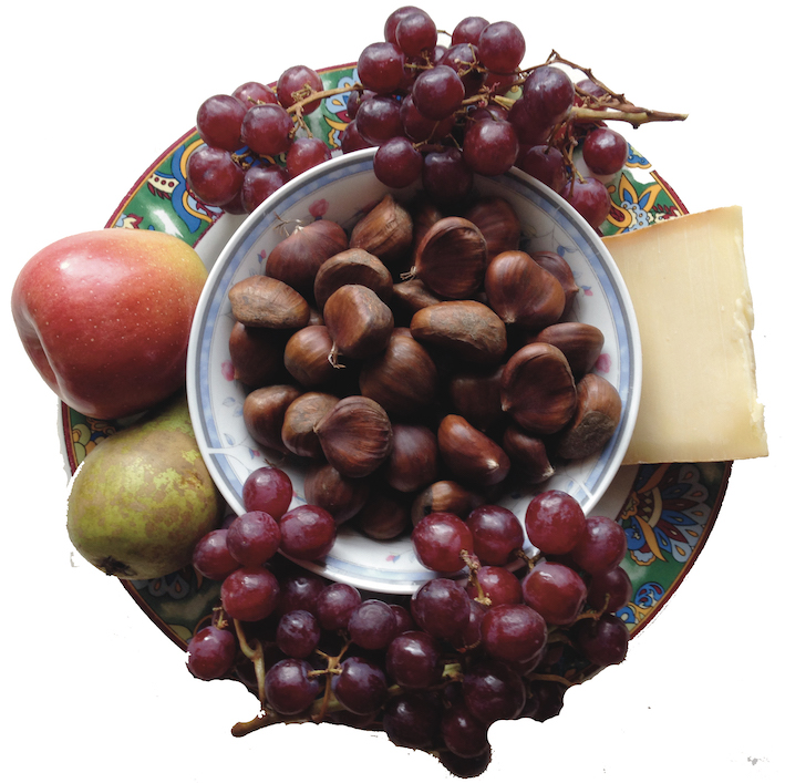 BLUE WINDOW | Food Travels in the Alps | Brisolée (autumn harvest buffet with chestnuts, cheese, fruit andwine)
